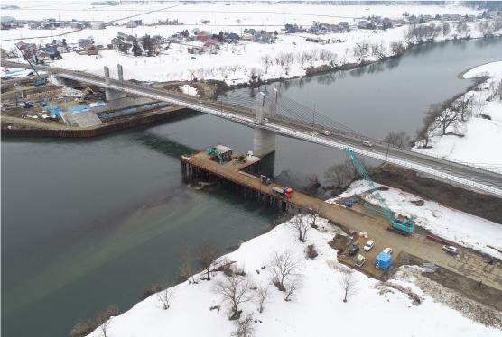 旧中央橋 橋梁下部撤去工事